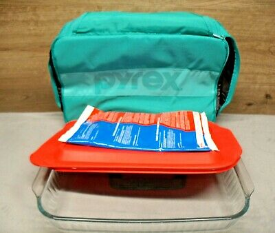 Pyrex 3 Qt Casserole Baking Dish & Lid Portables Insulated Carrier Hot/Cold Pack