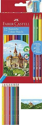 Faber-Castell 110312 Colour Pencil with 3 Bi-Colour Pencil/Sharpener (Pack of 12