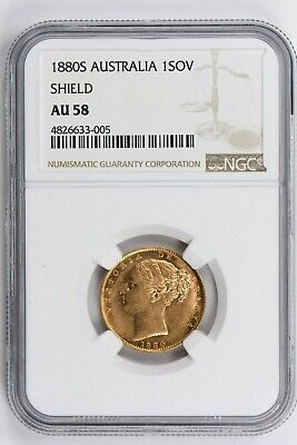 1880S Australia 1 Sovereign NGC AU 58, SHIELD Witter Coin