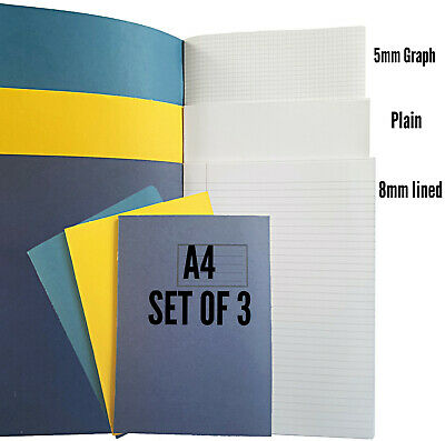 3 X A4 Exercise Books 80 Page  8mm lined, Plain, 5mm Graph  Home school set