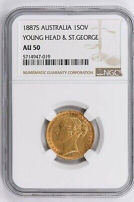1887S Australia 1 Sovereign NGC AU 50, YOUNG HEAD & ST. GEORGE Witter Coin
