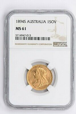 1894S Australia 1 Sovereign NGC MS 61 Witter Coin