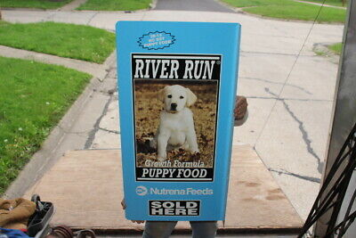 "Large Vintage River Run Puppy & Dog Food Farm Feed Gas Oil 34"" Metal Flange Sign"