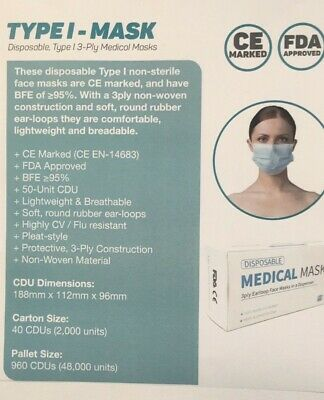 50pack Face Mask, blue, 2000 per carton