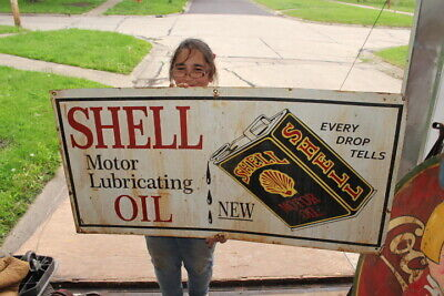 """Large Shell Motor Lubricating Oil Gas Station Flat Can 48"""" Metal Sign"""