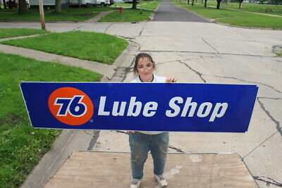 "Large Vintage Union 76 Lube Shop Motor Oil Gas Station 72"" Embossed Metal Sign"