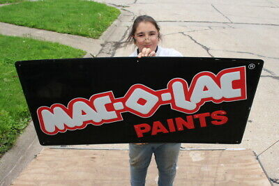 "Large Vintage Mac-O-Lac Paints Paint Gas Oil 48"" Embossed Metal Sign"
