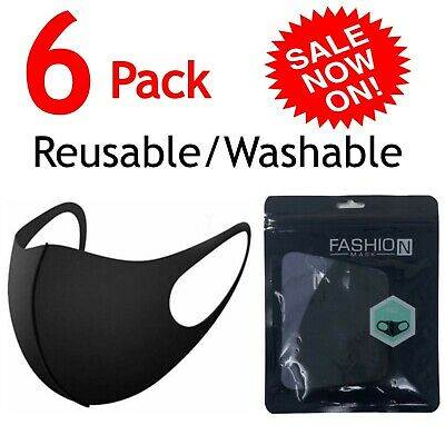 6 PCS Face Mask Reusable Washable Fashion Adult Spandex Black Mouth Cover Mask