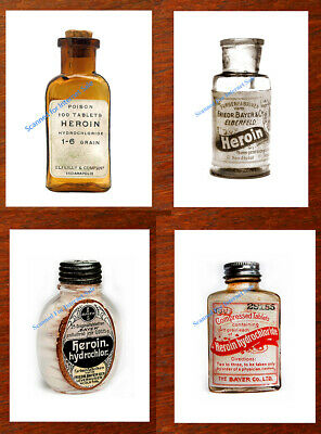 4 Vintage Heroin Bottles 1800s Photos Antique Medical Oxycodon Ships from USA