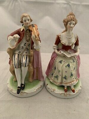 2 VICTORIAN FRENCH  PORCELAIN FIGURE STATUES Made in Occupied Japan- NICE