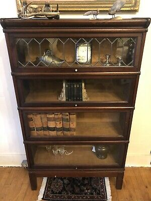 Antique Solid Mahogany Four Stack Leaded Door Barrister Bookcase Circa 1900