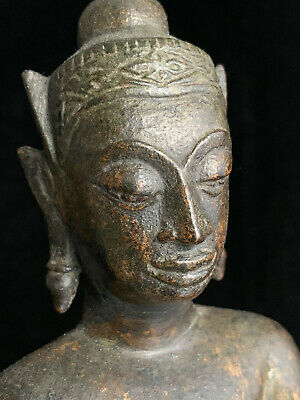 Genuine antique crowned Southeast Asian Thai Ayutthaya bronze Buddha 17th-18th c