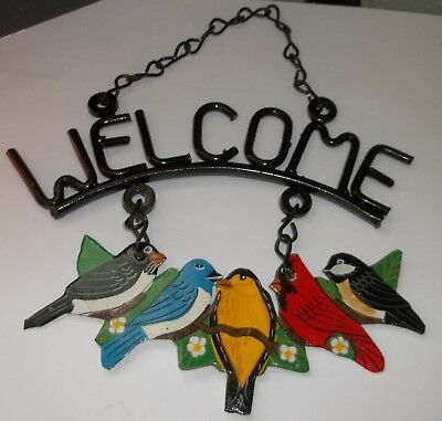 "Vintage Metal Birds ""Welcome"" Garden Plaque, Garden Sign VGC"