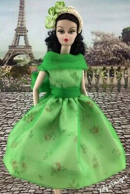 FITS Only Barbie Silkstone Reproduction Vintage Doll HANDMADE Dress Modern Art