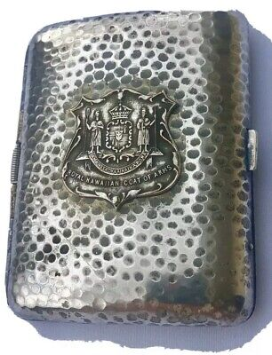 Vintage Cigarette Case Royal Hawaiian Coat Of Arms RARE Crest Silver Antique Pla