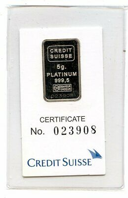 Avc- 5 Gram Platinum Bar Credit Suisse In Assay Card - Statue Of Liberty