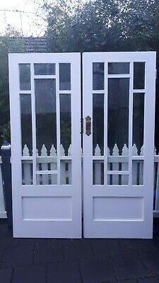 Art Deco Style 10 Panel Rebated French Doors with clear bevelled glass