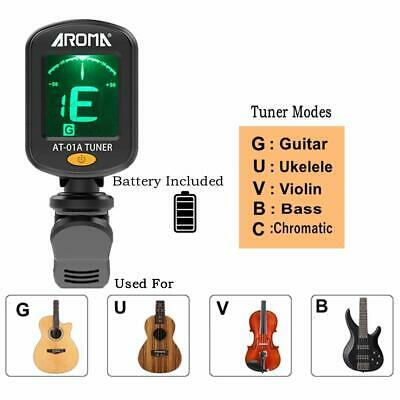 Electric Acoustic Guitar LCD Clip On Chromatic Tuner Bass Violin, Banjo, Ukulele