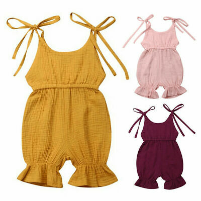 Toddler Baby Kid Girl Clothes Summer Strappy Jumpsuit Romper Bodysuit Outfits