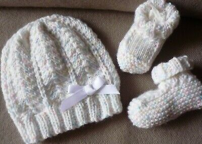 Beanie & Sockettes Hand-Knitted By Myself. Cute & Extra Soft. Pale Multicoloured