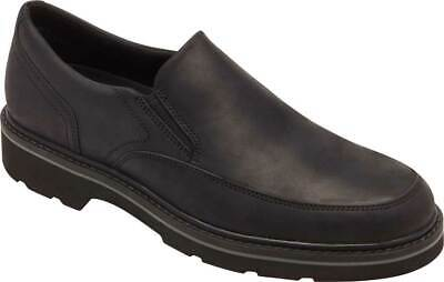 NEW Mens ROCKPORT Charlee Black LEATHER Slip On Shoes AUTHENTIC IN BOX