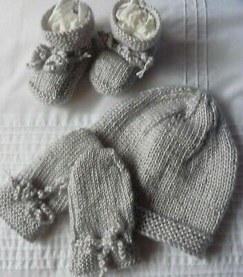 Baby Beanie, Booties & Mittens Set, Extra Soft Silver Grey, Hand-Knitted By Me.