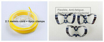 6# Dental Rubber Dam Sheets Clamp Clip (Stabilizing Cord x2.1m+ Clamps x6)