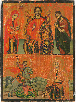 Old Antique Icon Ikone, Register Icon, Greek, 19th century .