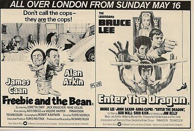 Original A5 Film Advert Freebie and the Bean & Enter the Dragon Bruce Lee