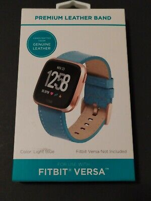 Premium Genuine Leather Band Fitbit Versa Light Blue New In Box
