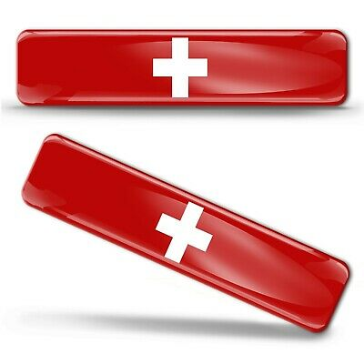 2 x 3D Gel Domed Switzerland Flag Swiss Sticker Logo Emblem Badge Decal Car Moto