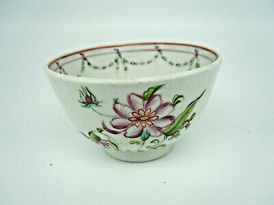 Chinese Porcelain Tea Bowl Hand Painted Antique Famille Rose Pink White China