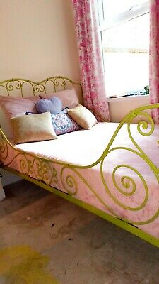 18th century French wrought iron alcove bed, small double, comes with mattress