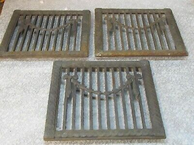 "3 Antique Vintage Cast Iron Register Heat Vent Wall Floor Grate Design 8""x8"""