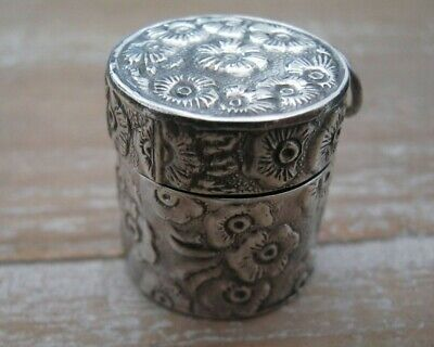 Beautiful English Hallmarked Solid Sterling Silver Daisy Thimble Case Chatelaine