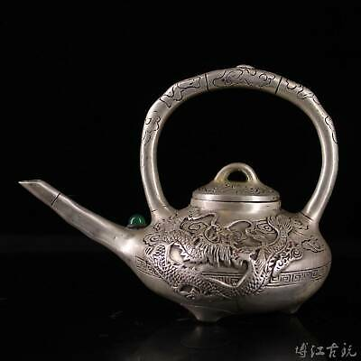 Collectable China Old Miao Silver Inlay Agate Hand-Carved Myth Dragon Tea Pot