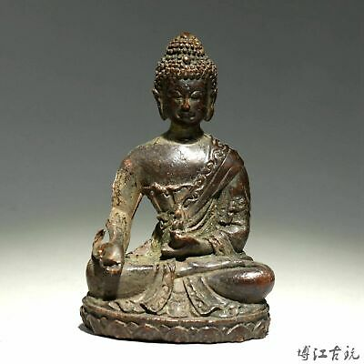 Collectable China Old Red Copper Hand-Carved Buddhism Kwan-Yin Decorate Statue