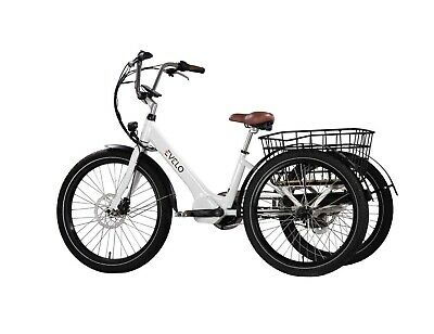 """NEW EVELO Electric Adult Tricycle 3 Wheeler 24"""" 3 Speed 48V Removable 500 Watt"""