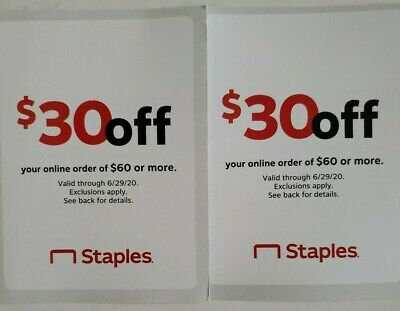 Staples Coupon $30 Off $60 Online Order Expires 6/29/20