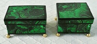 2 faux malachite mache box jewelry trinket French Russian Empire antique style.