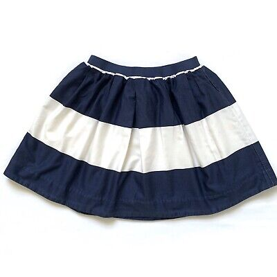 Crewcuts Girls Cream And Navy Blue Striped Skirt Sz 6-7