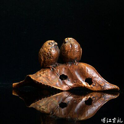 Collect China Old Boxwood Hand-Carved Leaf  & A Pair Delicate Little Bird Statue