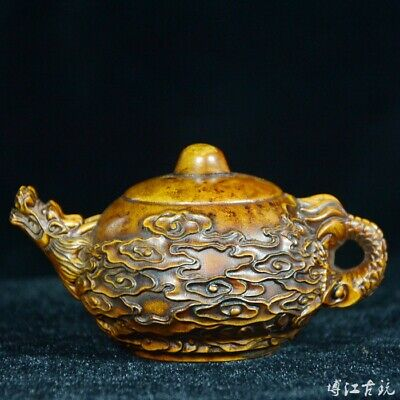 Collect China Old Boxwood Relief Myth Auspicious Dragon Delicate Tea Pot Statue