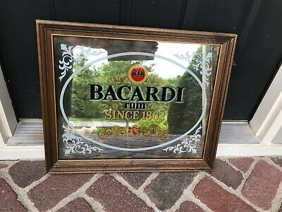 Vintage Bacardi Rum Mirrored Sign