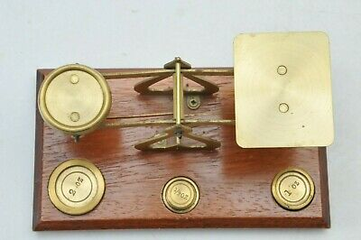 WOOD & BRASS ANTIQUE SCALE with WEIGHTS MADE in ENGLAND