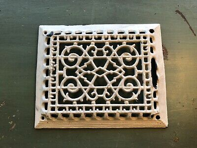 Vintage Cast Iron Vent Grate Cover Floor Register Victorian Signed Hs