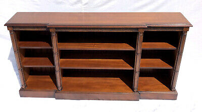 * Antique Style Breakfront Mahogany Bookcase Display Cabinet ADJUSTABLE SHELVES