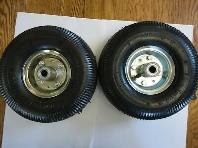 "two 10"" inflatable rubber wheels 4.10/3.50-4 on steel rims, 5/8"" axle diameter"