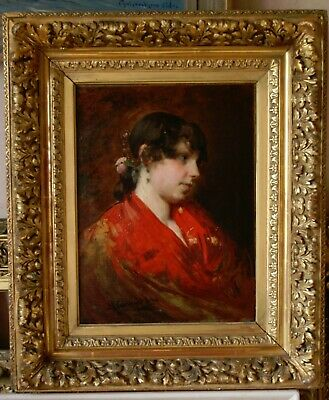 FINE19th Cen Spanish School Portrait Study of a YOUNG LADY Antique Oil Painting