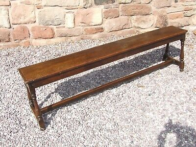 * Antique Oak 6 ft Long Bench / Seat Hall Bench with Turned Supports circa 1880
